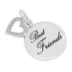 """Strieborný prívesok 925 - lesklý kruh, nápis """"Best Friends"""", kontúra srdca so zirkónmi"""