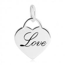 """Prívesok zo striebra 925 - zrkadlovolesklý srdcový zámok, ozdobný nápis """"Love"""""""