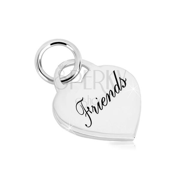 """Strieborný 925 prívesok - srdcový zámok s nápisom """"Friends"""", zrkadlovolesklý povrch"""