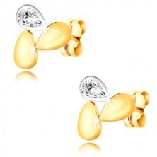 Náušnice v kombinovanom 9K zlate - dve kvapôčky a trblietavá zirkónová slza