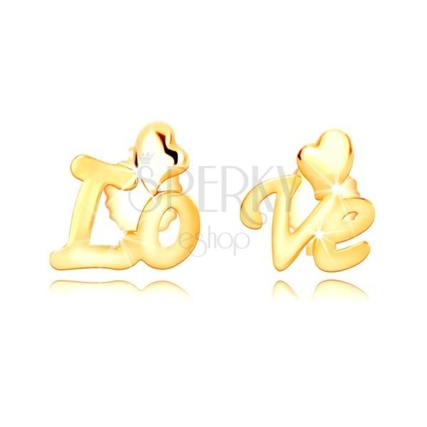 """Náušnice v 9K žltom zlate - rozdelený nápis """"Love"""", nepravidelné srdiečka, puzetky"""