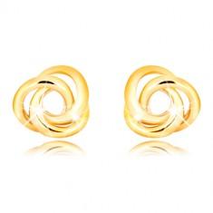 Náušnice zo žltého zlata 375 - tri vzájomne prepletené prstence, puzetky so závitom