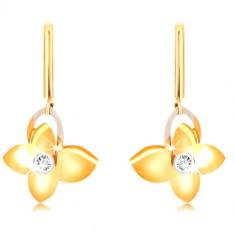 Náušnice z 9K zlata - úzka palička, motýľ so zirkónom, kontúra krídla v bielom zlate