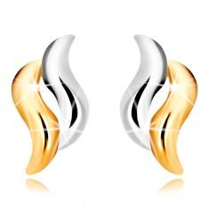 Puzetové náušnice v kombinovanom zlate 375 - dvojfarebné zvlnené línie