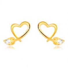 Náušnice v 9K žltom zlate - kontúra nepravidelného srdca, lístoček so zirkónom