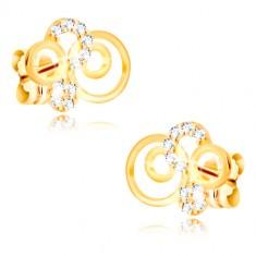 Náušnice zo žltého zlata 375 - prstence a trblietavé transparentné zirkóny