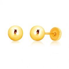 Náušnice v žltom zlate 375 - zrkadlovolesklá guľočka, puzetky so závitom, 5 mm