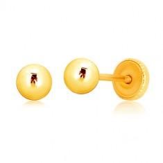 Náušnice zo žltého 9K zlata - jednoduchá guľôčka, puzetky so závitom, 4 mm