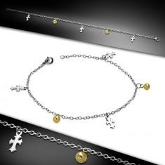Šperky eshop - Oceľová retiazka na ruku alebo na nohu - ľaliové kríže a guľôčky zlatej farby AC23.14