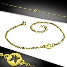 Šperky eshop - Oceľová retiazka na ruku alebo na nohu zlatej farby - krúžok s výrezom motýľa AC23.28