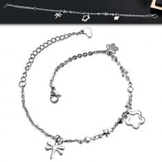 Šperky eshop - Oceľová retiazka na nohu alebo na ruku - oválne očká, kosoštvorce a hviezdy, prívesky AC23.31