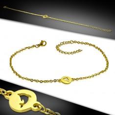 Šperky eshop - Retiazka na nohu z ocele - okrúhla známka s delfínom, zlatý farebný odtieň AC24.02