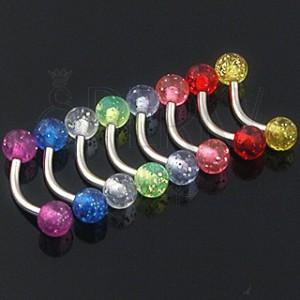 Piercing do obočia - farebné glitrové guličky