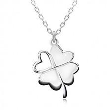 Strieborný náhrdelník 925 - štvorlístok pre šťastie, srdiečkový výrez, ligotavá retiazka