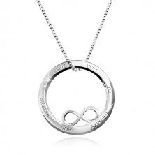 Strieborný 925 náhrdelník - kontúra kruhu so symbolom nekonečna, nápis, hranatá retiazka