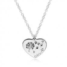 """Strieborný náhrdelník 925 - súmerné srdiečko, púpava vo vetre, nápis """"Mom"""""""