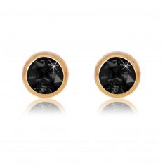 Šperky eshop - Náušnice z 9K ružového zlata - čierny okrúhly zirkón, lesklá objímka, 5 mm GG53.20