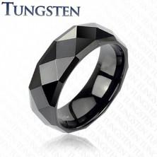Čierny tungstenový prsteň s brúsenými kosoštvorcami, 6 mm