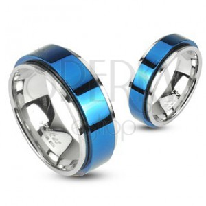 Prsteň z ocele otáčavý - modrý