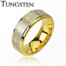 Tungstenový prsteň s motívom kríža