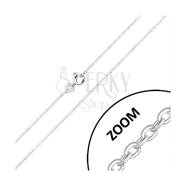 Retiazka zo striebra 925 - kolmo napájané oválne očká, lesklé hrany, 1,3 mm