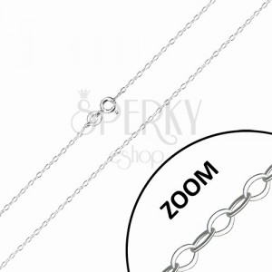 Lesklá retiazka zo striebra 925 - ploché oválne očká, kolmé napájanie, 1,4 mm