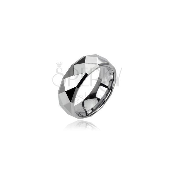 Tungstenový prsteň striebornej farby s brúsenými kosoštvorcami, 6 mm