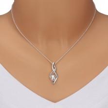 Strieborný náhrdelník 925 - číslo osem, zvlnené stuhy s perlou, retiazka