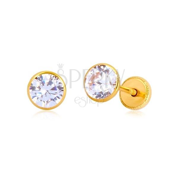 Náušnice v 14K žltom zlate - transparentný zirkón v objímke, puzetky so závitom,  5 mm