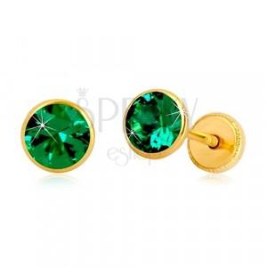 Zlaté 14K náušnice - smaragdovozelený zirkón v objímke, puzetky so závitom, 5 mm