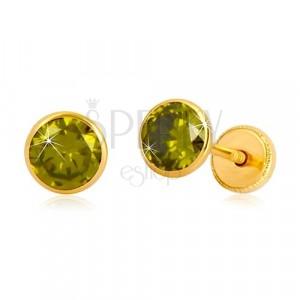 Zlaté náušnice 585 - okrúhly zirkón zelenej farby, puzetky so závitom, 5 mm