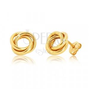 Puzetové náušnice zo žltého zlata 375 - tri lesklé prepletené prstence