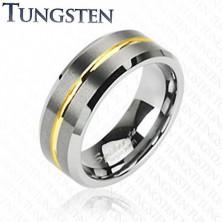 Tungstenový prsteň s pruhom v zlatej farbe, 8 mm