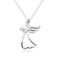 Strieborný 925 náhrdelník - vyrezávaný anjel so srdiečkom, číry diamant