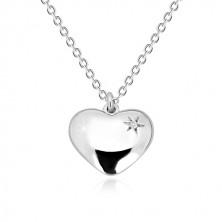 Náhrdelník zo striebra 925 - zrkadlovolesklé srdce s hviezdičkou a diamantom