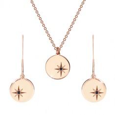 Strieborný set 925 ružovozlatej farby - náhrdelník a náušnice, kruh s Polárkou, čierny diamant