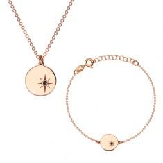 Strieborná sada 925, ružovozlatý odtieň - náramok a náhrdelník, kruh, Polárka a diamant