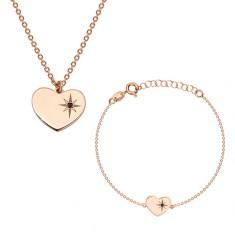 Šperky eshop - Strieborný 925 set ružovozlatej farby - náramok a náhrdelník, srdce s Polárkou a diamantom S25.15