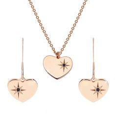 Šperky eshop - Sada ružovozlatej farby, striebro 925 - náušnice a náhrdelník, srdce s Polárkou a diamant R44.10