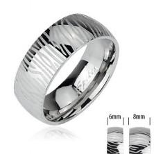 Oceľový prsteň - vzor zebra