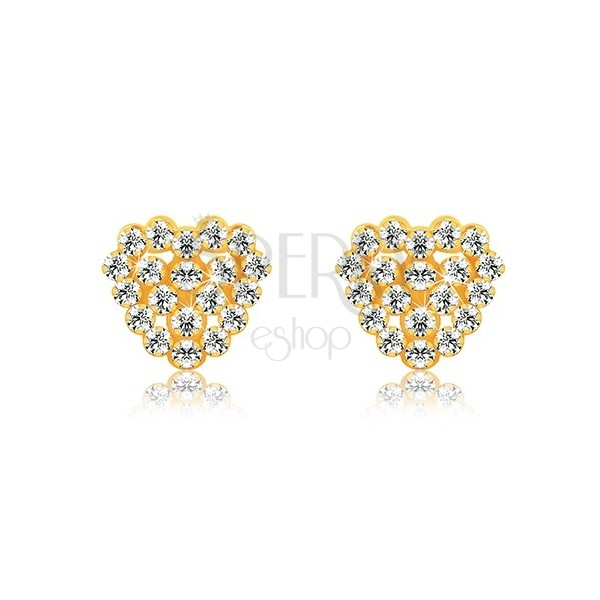 Náušnice zo žltého 9K zlata - transparentné zirkóny, srdiečko a srdcový obrys