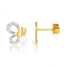 Náušnice v kombinovanom zlate 375 - motýľ s vyrezávanými krídlami a perlou