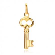 Prívesok zo žltého zlata 585 - lesklý kľúč so starožitným vzhľadom