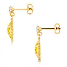 Zlaté náušnice 375 - číry zirkón, zirkónové zrnko žltej farby, ligotavá kontúra