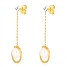 Náušnice v 9K žltom zlate - prerušený prstenec s perlou na retiazke, transparentný zirkón