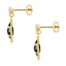 Náušnice zo žltého zlata 375 - číry zirkón, zirkónové zrnko čiernej farby, trblietavý lem
