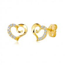 Puzetové náušnice zo žltého 9K zlata - obrys srdca so špirálou a zirkónovou polovicou