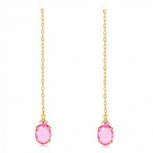 Zlaté náušnice 375 - oválny zirkón ružovej farby, tri číre zirkóniky, retiazka