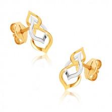 Náušnice z kombinovaného zlata 375 - lesklá osmička a slza v bielom zlate, puzetky