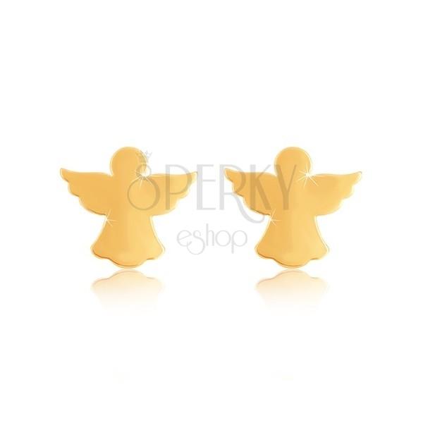 Náušnice zo žltého 9K zlata - silueta anjela s rozprestretými krídlami, puzetky